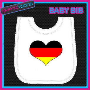 GERMANY GERMAN HEART FLAG I LOVE WHITE BABY BIB EMBROIDERED